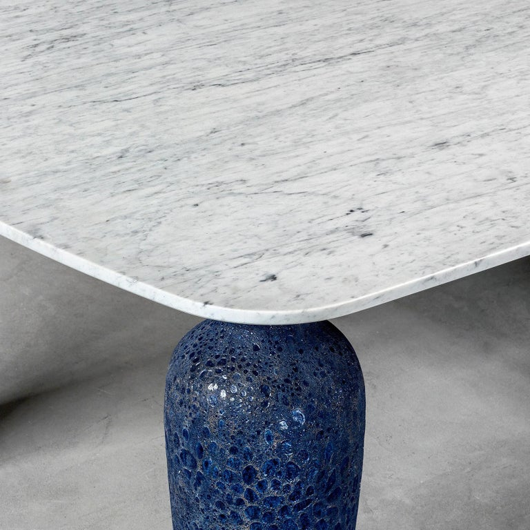 Contemporary Blue Ceramic Long Dining Table For Sale