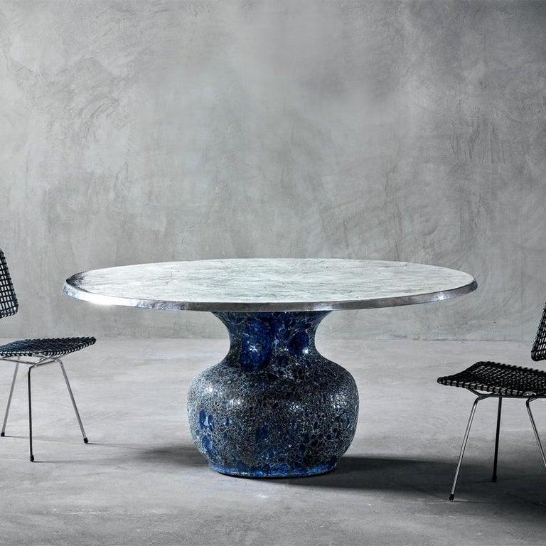 Italian Blue Ceramic Round Table For Sale