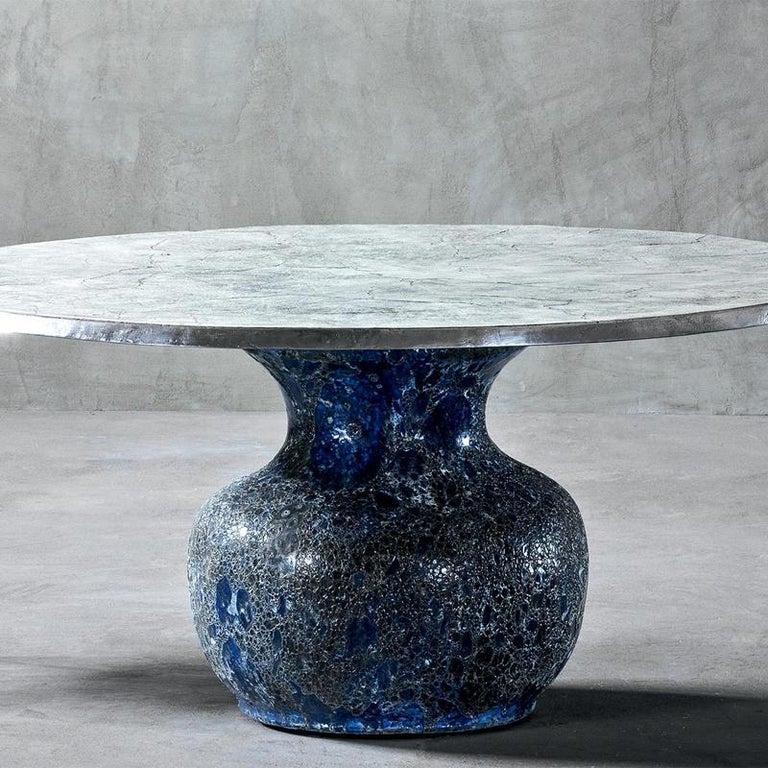 Cast Blue Ceramic Round Table For Sale