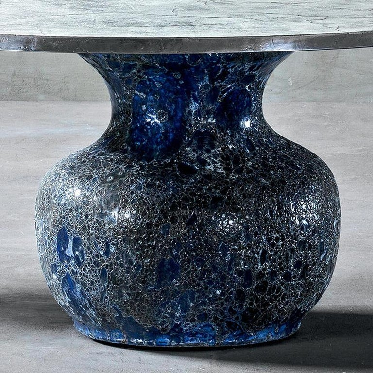 Blue Ceramic Round Table In New Condition For Sale In Paris, FR