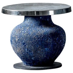 Blue Ceramic Side Table
