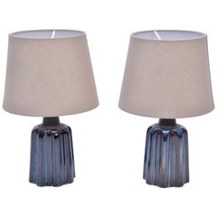 Blue Ceramic Table Lamps from Soholm Stentoj, 1970s, Set of 2