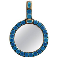 Blue Ceramic Tiled Hand Mirror by François Lembo, circa 1970s