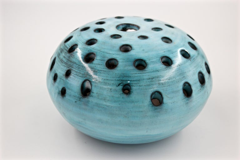 Midcentury blue ceramic vase pique fleur by Jacques Pouchain / Atelier Dieulefit.   About the Artist: Jacques Pouchain (1925 - 2015) left Paris and gave up his architectural training in the 1950s for the South of France to devote himself to art