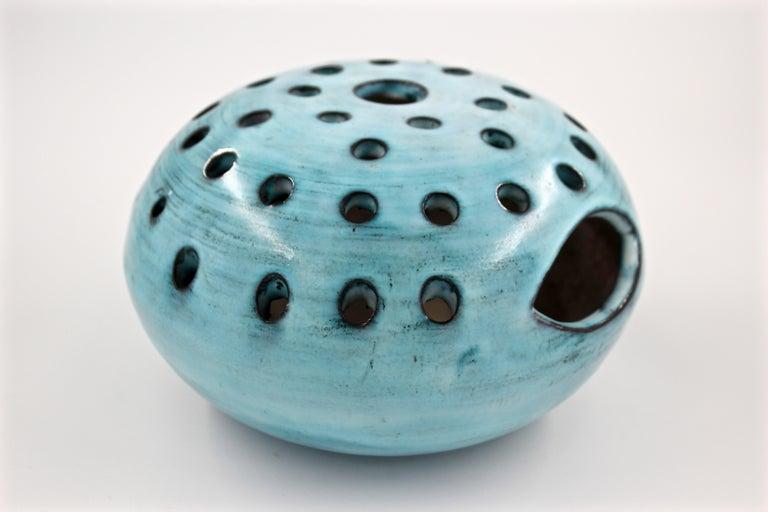 Mid-Century Modern Blue Ceramic Vase Pique Fleur Jacques Pouchain / Atelier Dieulefit France, 1960s For Sale
