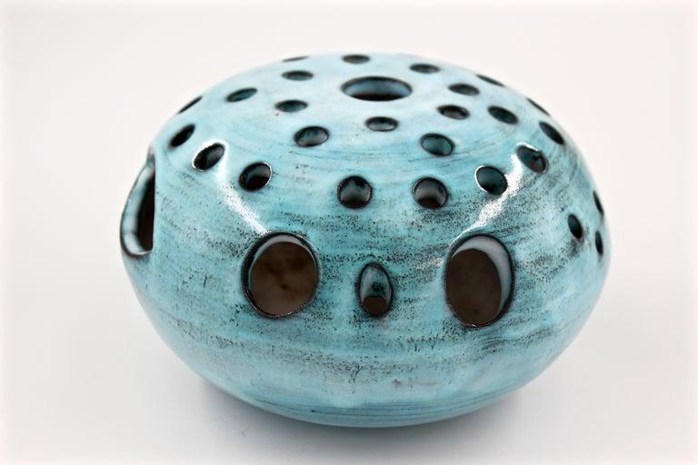 French Blue Ceramic Vase Pique Fleur Jacques Pouchain / Atelier Dieulefit France, 1960s For Sale