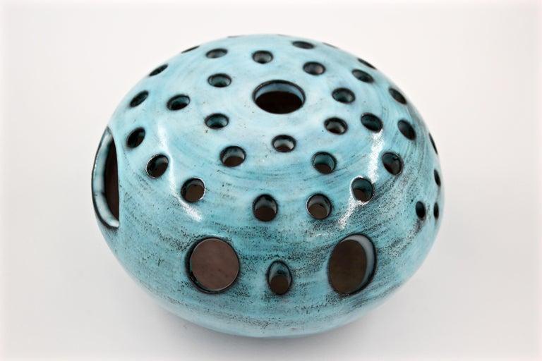 Blue Ceramic Vase Pique Fleur Jacques Pouchain / Atelier Dieulefit France, 1960s In Good Condition For Sale In Santa Gertrudis, Baleares
