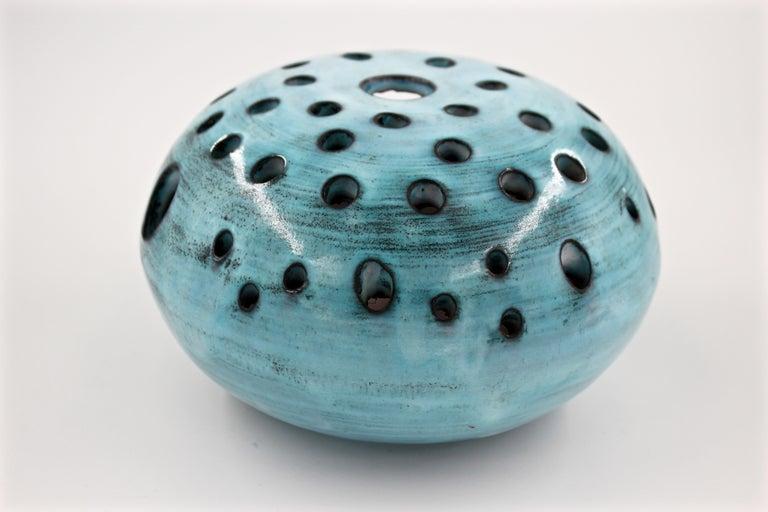 Mid-20th Century Blue Ceramic Vase Pique Fleur Jacques Pouchain / Atelier Dieulefit France, 1960s For Sale