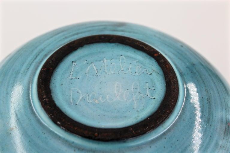 Blue Ceramic Vase Pique Fleur Jacques Pouchain / Atelier Dieulefit France, 1960s For Sale 1