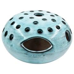 Blue Ceramic Vase Pique Fleur Jacques Pouchain / Atelier Dieulefit France, 1960s