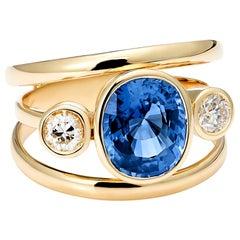 Blue, Ceylon Sapphire and White Diamond 3-Stone Engagement Ring