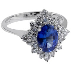 Blue Ceylon Sapphire and White Diamond Ring Made in Italy