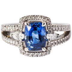 Blue Ceylon Sapphire Cushion Size and Pear Diamonds .18 Karat White Gold