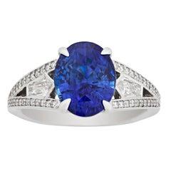 Blue Ceylon Sapphire Ring, 4.15 Carat