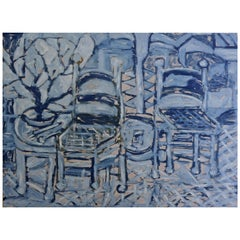 Blue Chairs Mixed-Media Modern Painting Oil on Linen Abstract Expressionism