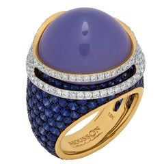 Blue Chalcedony 24.47 Carat Sapphires Diamonds 18 Karat Gold Fuji Ring