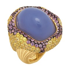 Blue Chalcedony 32.10 Carat Yellow Purple Sapphires 18 Karat Yellow Gold Ring