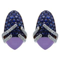 Blue Chalcedony 5.29 Carat Sapphires Diamonds 18 Karat Gold Fuji Earrings