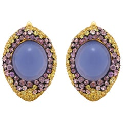 Blue Chalcedony 9.70 Carat Purple Yellow Sapphire 18 Karat Yellow Gold Earrings