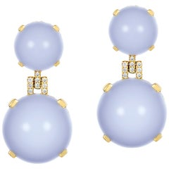 Blue Chalcedony Cabochon Earrings with Diamonds
