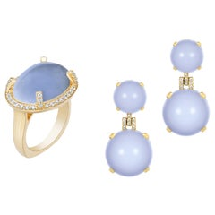 Blue Chalcedony Cabochon Ring and Earrings with Diamonds