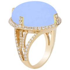 Goshwara Oval Cabochon Blue Chalcedony And Diamond Ring