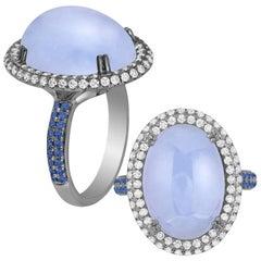Goshwara Oval Blue Chalcedony Cabochon Ring