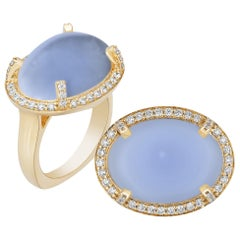 Blue Chalcedony Cabochon Ring with Diamonds