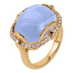 Goshwara Blue Chalcedony Cushion Cabochon And Diamond Ring