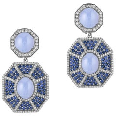 Blue Chalcedony Double Octagon Earrings with Sapphire and Diamonds