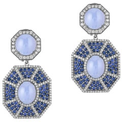 Goshwara Blue Chalcedony Double Octagon With Sapphire And Diamond Earrings
