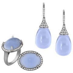 Blue Chalcedony Drop Earrings and European Shank Ring with Diamonds