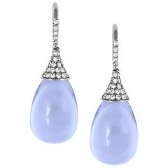 Blue Chalcedony Drop Earrings with Diamond