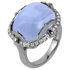 Goshwara Cushion Cabochon Blue Chalcedony And Diamond Ring