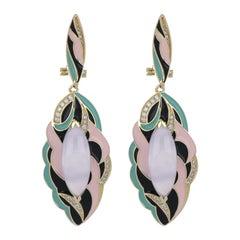 Blue Chalcedony Enamel Drop Earrings with Diamonds in 14 Karat Yellow Gold