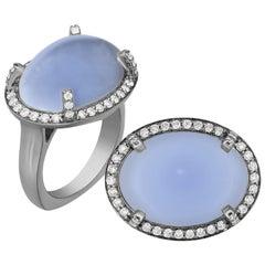 Goshwara Oval Blue Chalcedony And Diamond Ring