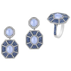 Blue Chalcedony Octagon Earrings and Ring with Sapphire and Diamonds