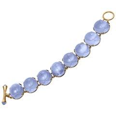 Blue Chalcedony Oval Cabochon Bracelet