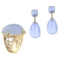 Blue Chalcedony Oval Cabochon Ring and Earring with Diamonds