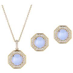 Goshwara Blue Chalcedony Cabochon With Diamond Pendant And Earring set