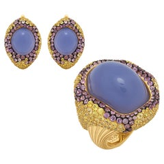 Blue Chalcedony Purple Yellow Sapphire 18 Karat Yellow Gold Suite