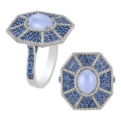 Blue Chalcedony, Sapphire and Diamond Octagon Ring