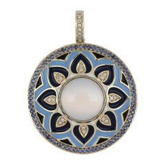 Blue Chalcedony, Sapphire Studded Enamel Pendant with Diamonds in 14 Karat Gold