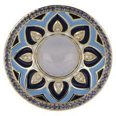 Blue Chalcedony, Sapphire Studded Enamel Ring with Diamonds in 14 Karat Gold