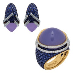 Blue Chalcedony Sapphires Diamonds 18 Karat Gold Fuji Suite