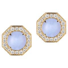 Goshwara Blue Chalcedony And Diamond Stud Earrings