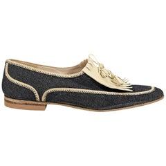 Blue Chanel Denim Loafers