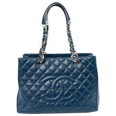 Blue Chanel Grained Leather Tote