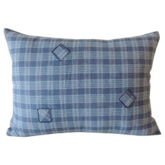 Blue Check Cotton Patchwork Modern Bolster Decorative Pillow