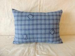 Blue Check Cotton Patchwork Modern Bolster Decorative Pillow